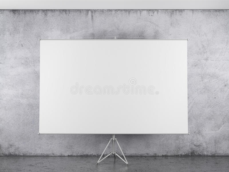 Download Blank Projector Canvas In The Interior Stock Illustration - Illustration of communication, space: 32142860