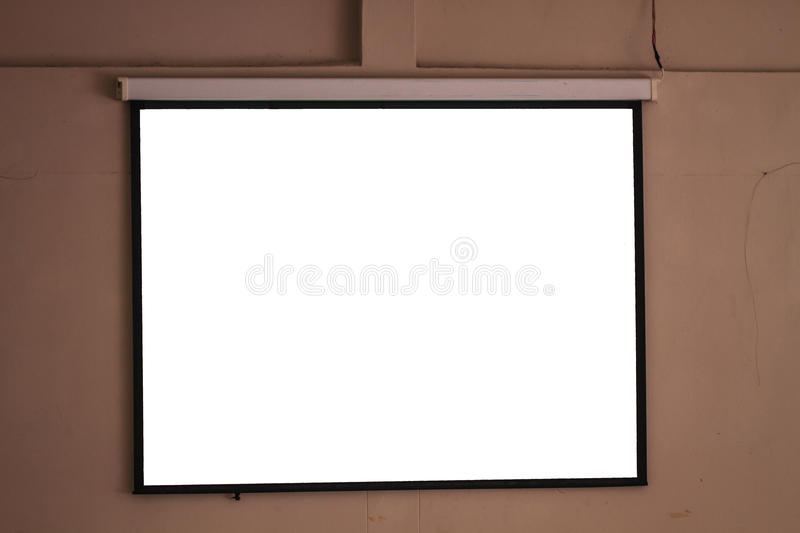 Blank projector canvas. On wall in conference room stock images