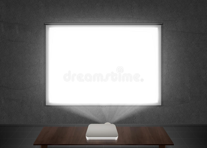 Blank projector screen mockup on the wall. Projection light in darkness. Projector display mock up. Presentation clear monitor on wall. Slide show front design stock photography