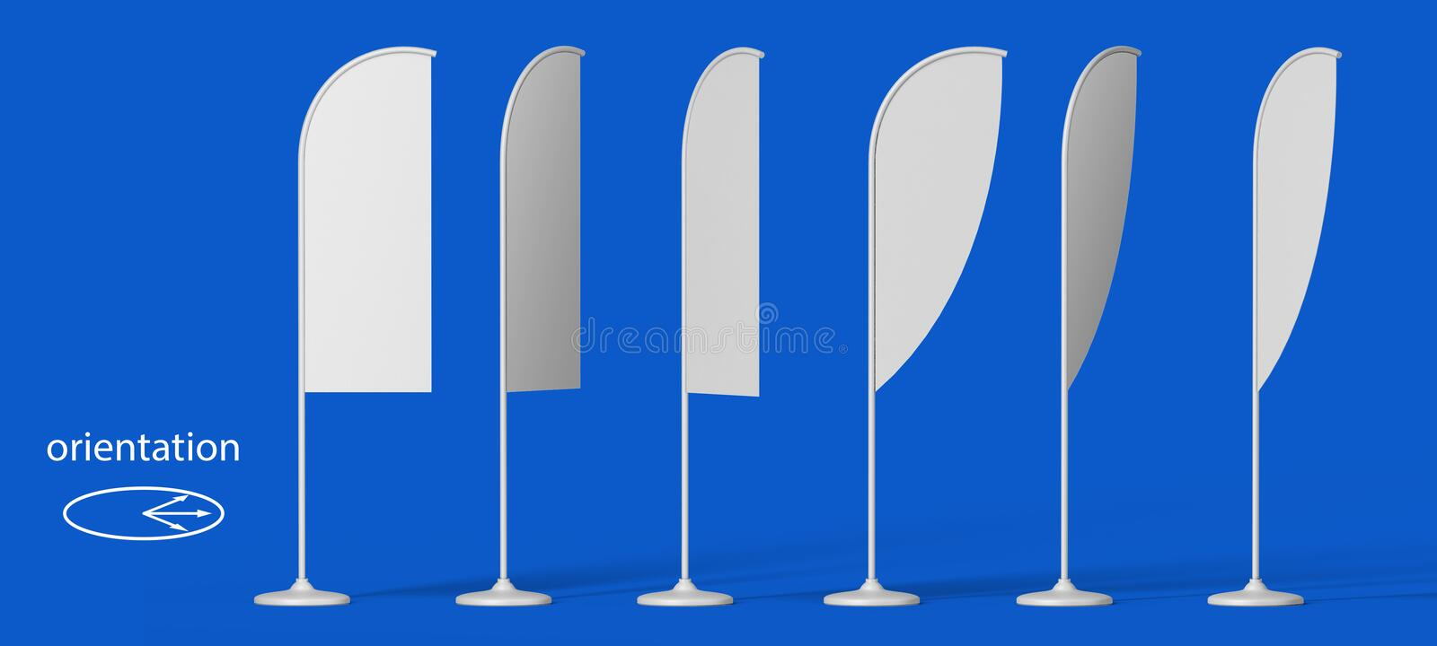 Blank promotion flags 3D Illustration Isolated stock illustration