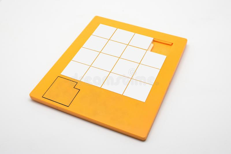 Blank puzzle game to fill. Vintage game, entertainment games stock photography