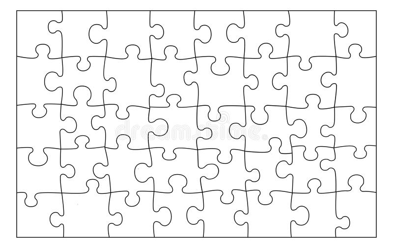 Blank puzzle texture. Black lines on white background. royalty free illustration