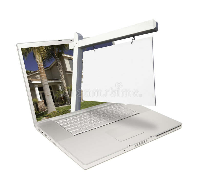 Download Blank Real Estate Sign & Laptop Stock Photo - Image: 8876890