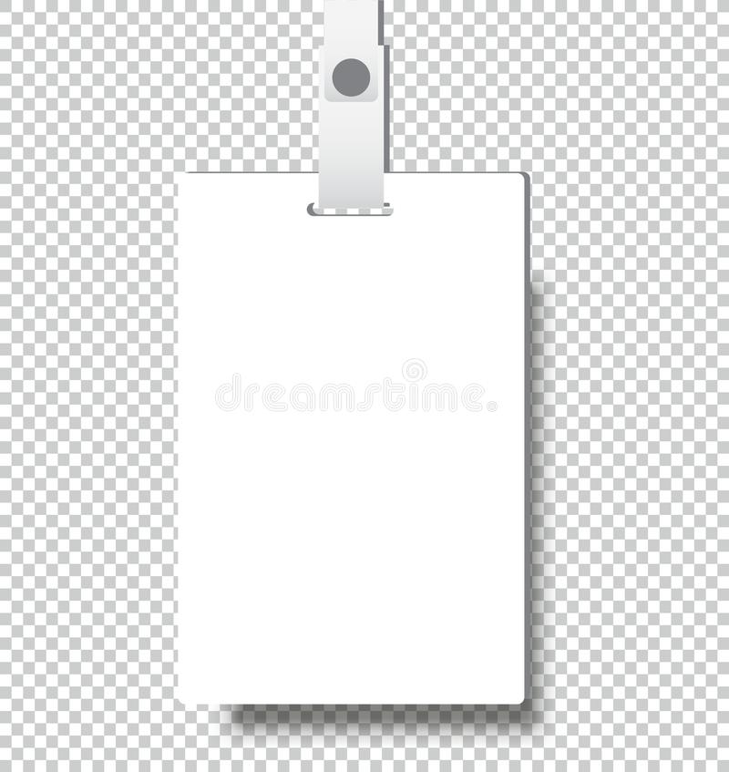 Blank realistic Identity card badge with ribbon mockup cover template royalty free illustration
