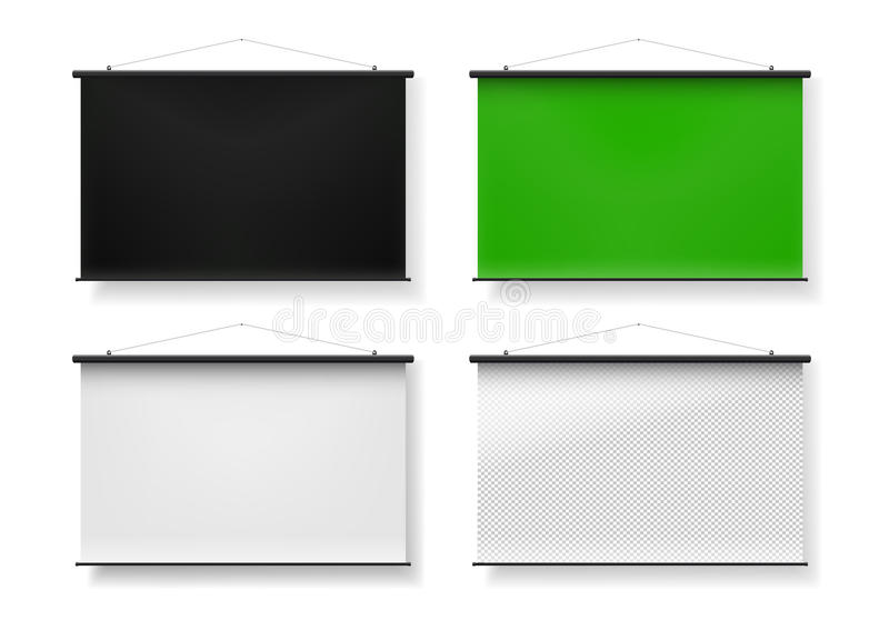 Blank realistic set of portable projection screen. The black, green, white, transparent. Vector illustration. Isolated on white vector illustration