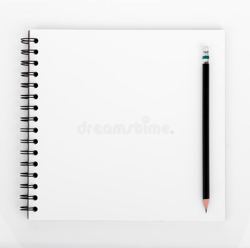Blank realistic spiral notebook and pencil isolated on white background stock photos
