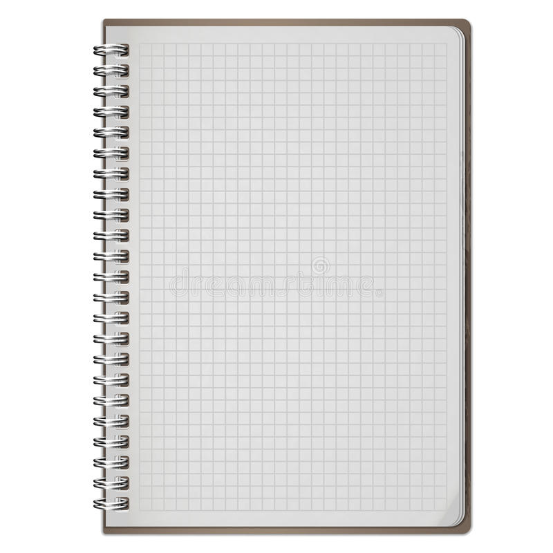 Blank realistic spiral notepad notebook isolated on white stock illustration