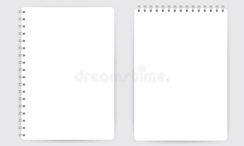 Blank realistic spiral notepad notebook isolated on white vector stock illustration