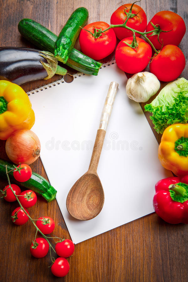 Free Blank Recipe Book And Food Ingredients Stock Photos - 92533053