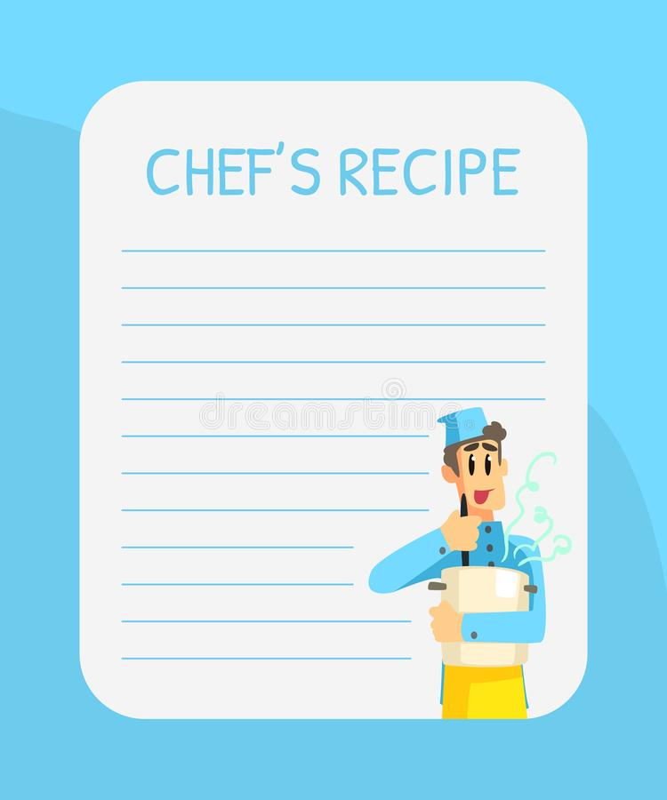 Blank Recipe Card Template with Cheerful Chef, Cookbook Page Vector Illustration. Web Design stock illustration