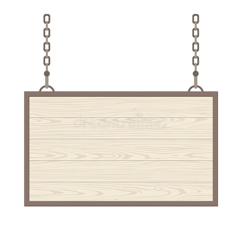 Blank rectangular wooden signboard hanging on metallic chain. Vector flat monochrome royalty free illustration