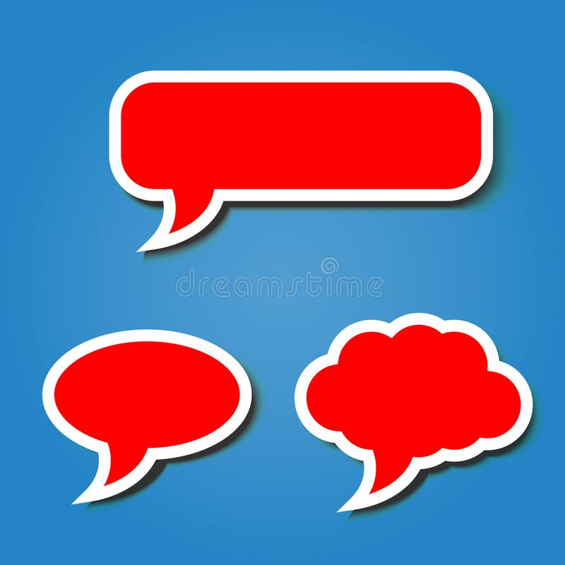 Blank red bubble speech with white border template on blue background vector illustration