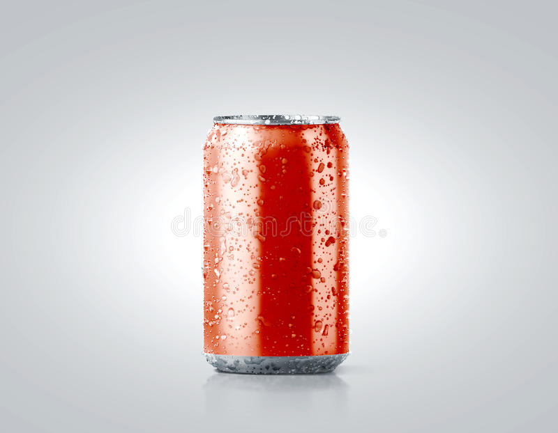 Blank red cold aluminium soda can mockup with drops stock photo