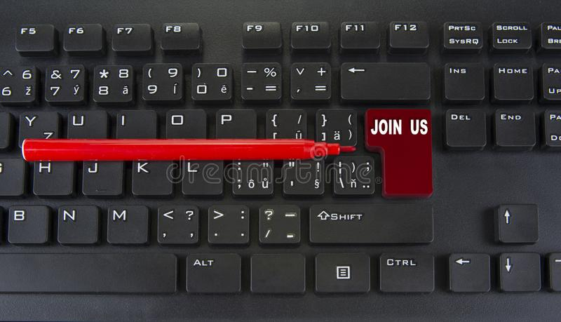 Blank red enter key of computer keyboard. Join us concept.  royalty free stock photography