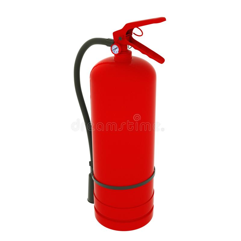 Blank red fire extinguisher on white background 3D illustration.  royalty free illustration