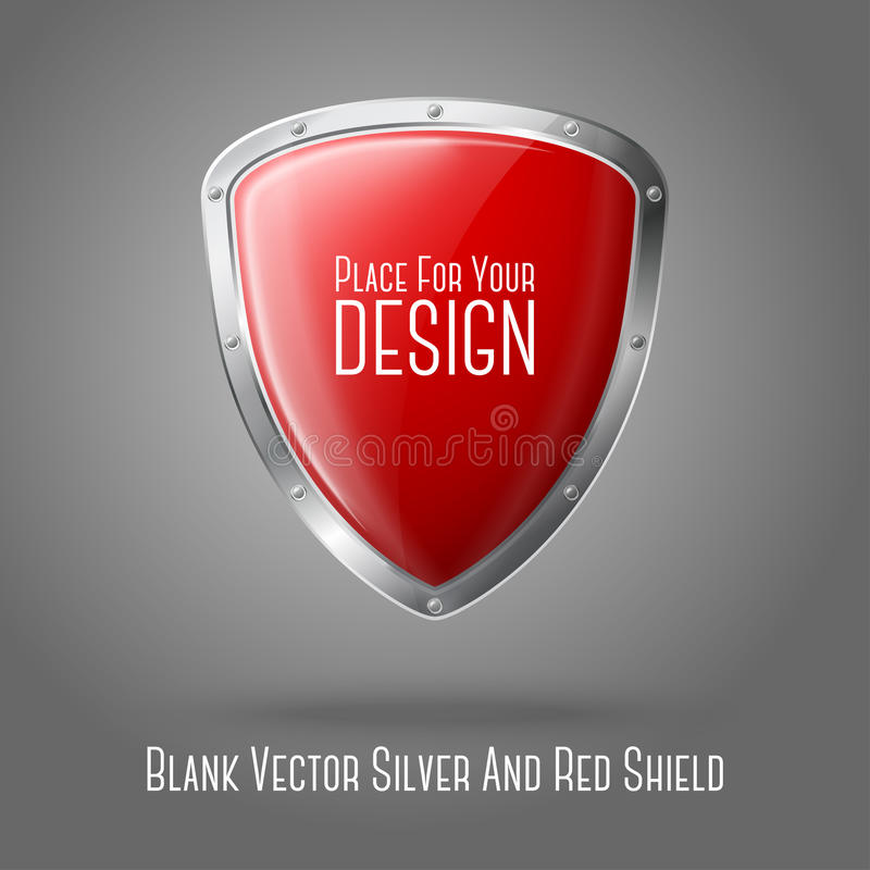 Blank red realistic glossy shield with silver stock illustration