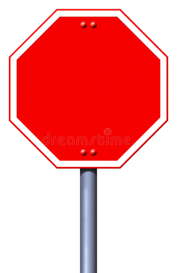 Blank red road stop sign stock illustration