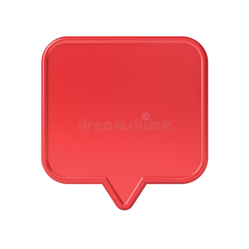 Blank red social media notification speech bubble pin isolated on white background royalty free stock photos