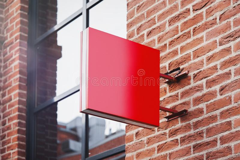 Blank red square store signboard Mockup. Empty shop Street sign, signage on the wall. , 3d rendering. Blank red square store signboard Mockup. Empty shop Street stock illustration