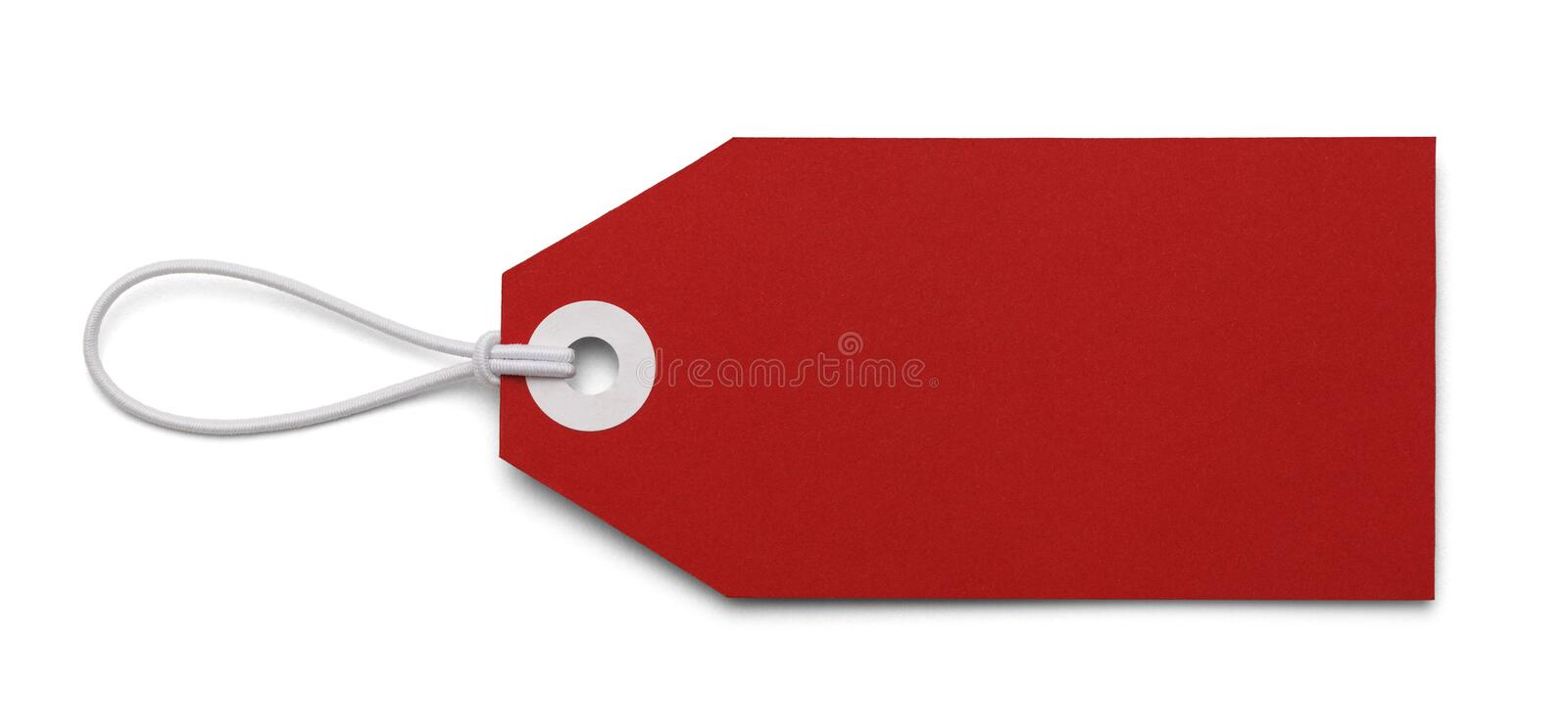 Blank Red Tag. Large Price Tag with Copy Space Isolated on White Background royalty free stock photo
