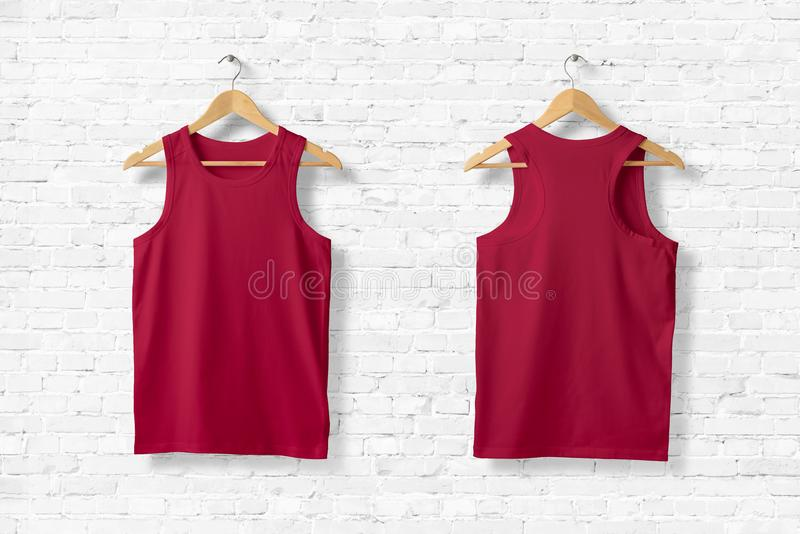 Blank Red Tank Top Mock-up hanging on white wall. vector illustration