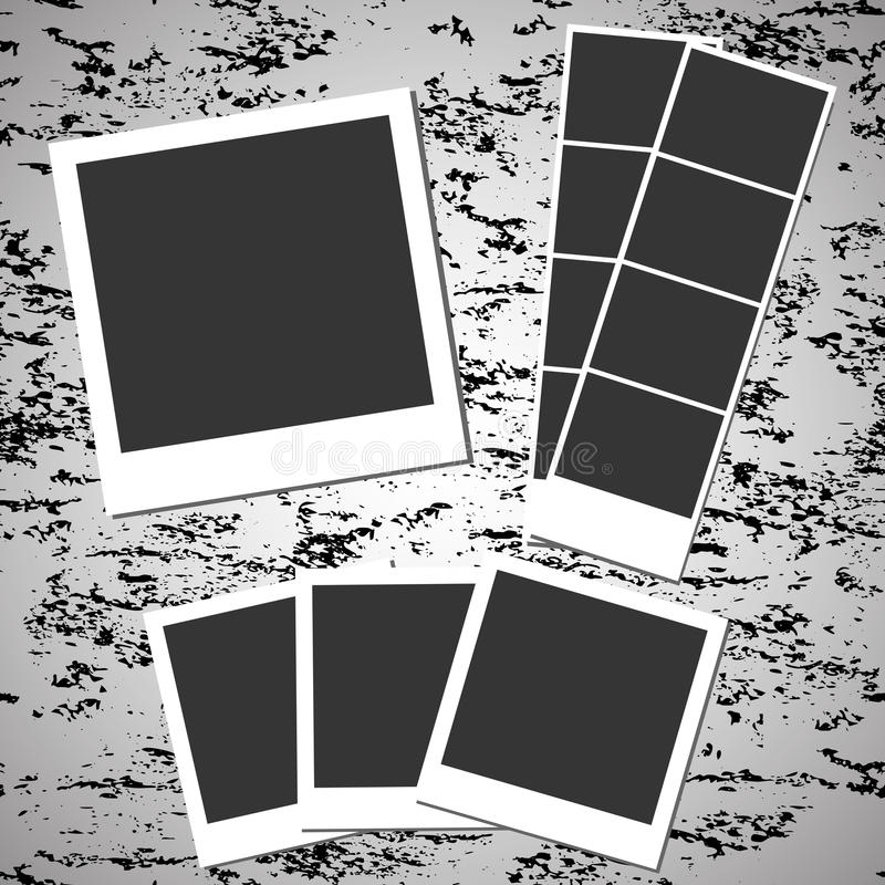Blank retro photos on grunge background. vector illustration