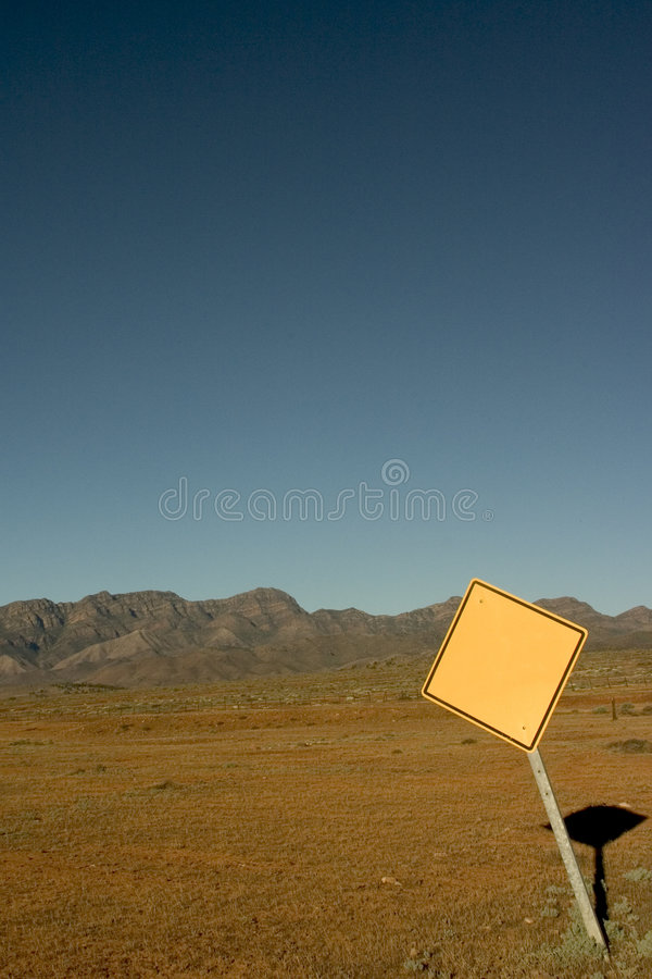 Blank Road Sign. At Flinders Ranges, South Australia stock photography