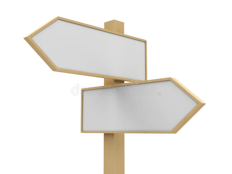 Blank road sign closeup. Closeup blank road sign on white background, three-dimensional rendering vector illustration