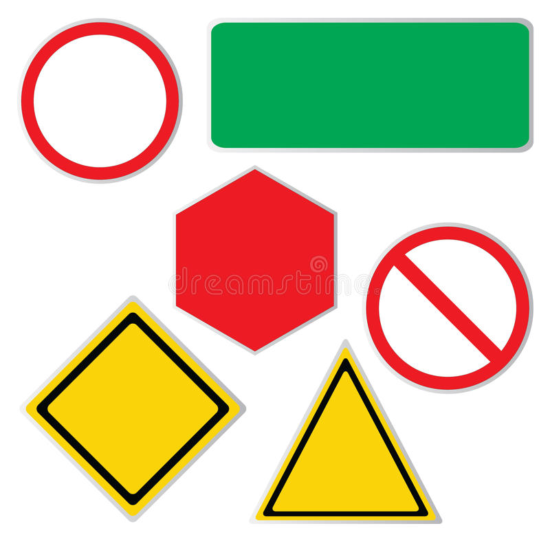 Blank road sign icons. Blank road sign icon collection isolated on white royalty free illustration
