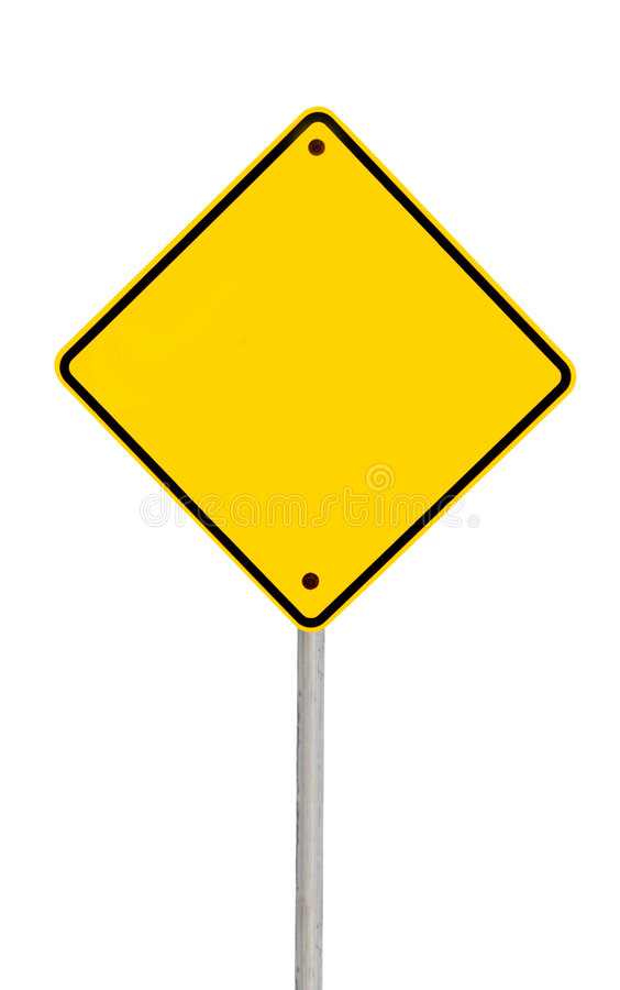Blank Road Sign (with Path). Blank yellow road warning sign (with clipping path royalty free stock photography