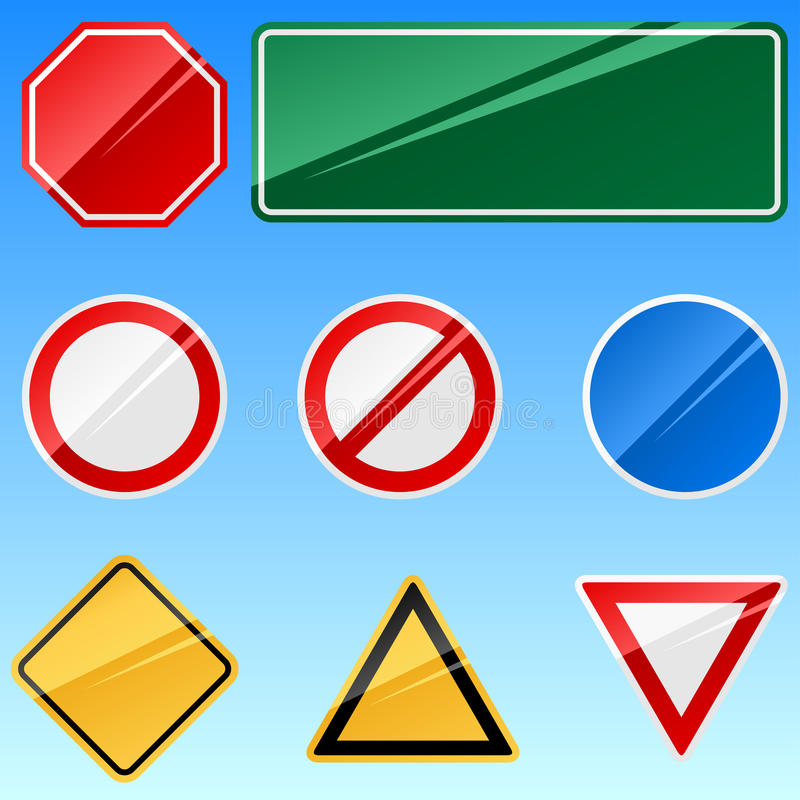 Blank road signs. Blank road signs collection isolated on blue background vector illustration