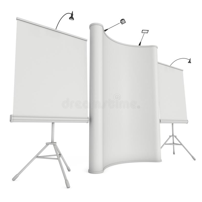 Blank Roll and Pop Up Banner Stand Group. Blank Roll and Pop Up Expo Banner Stand Group. Trade show booth white and blank. 3d render illustration isolated on royalty free illustration
