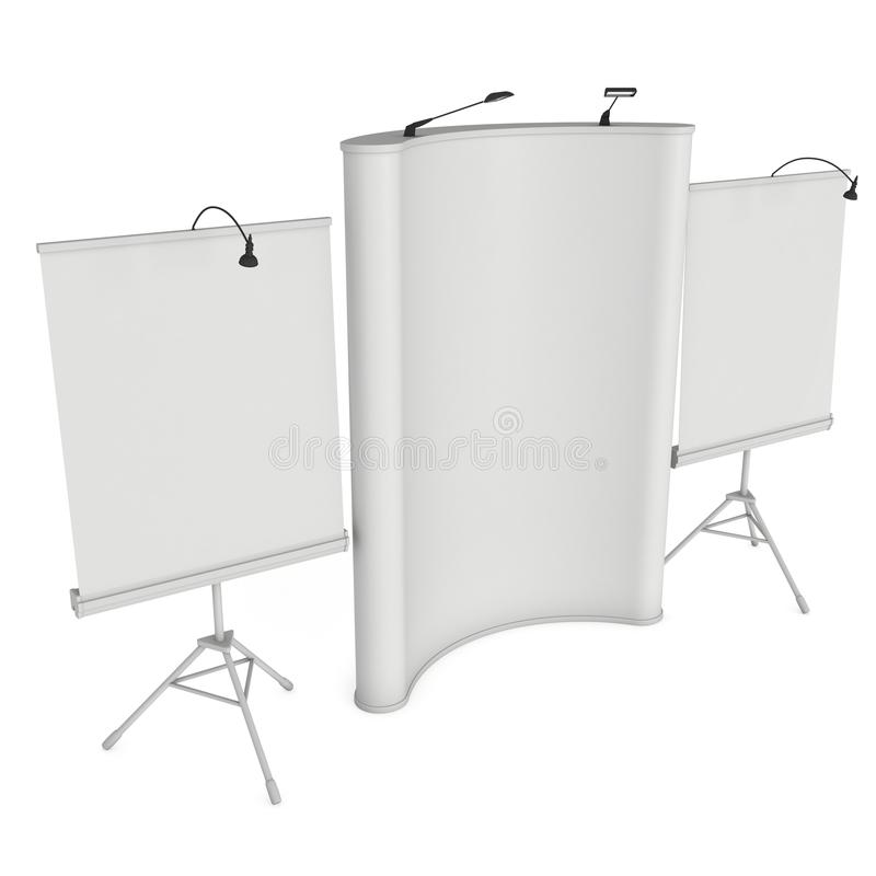 Blank Roll and Pop Up Banner Stand Group. Blank Roll and Pop Up Expo Banner Stand Group. Trade show booth white and blank. 3d render illustration isolated on vector illustration