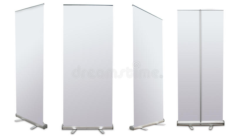 Blank roll up banner display stock photos