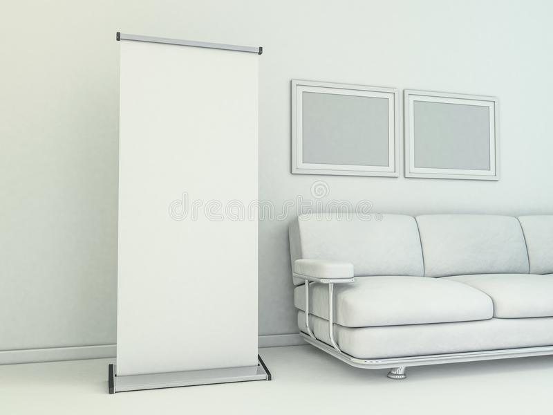 Blank roll up banner display. Template mockup. 3D vector illustration