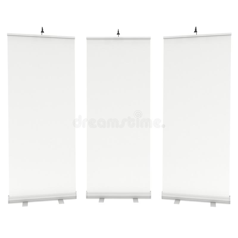 Blank Roll Up Banner Stands. Trade show booth white and blank. 3d render isolated on white background. High Resolution Template for your design vector illustration