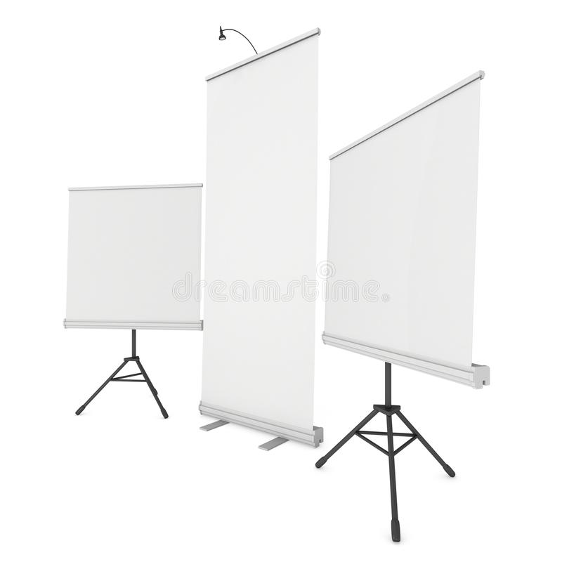 Blank Roll Up Expo Banner Stand Group royalty free illustration