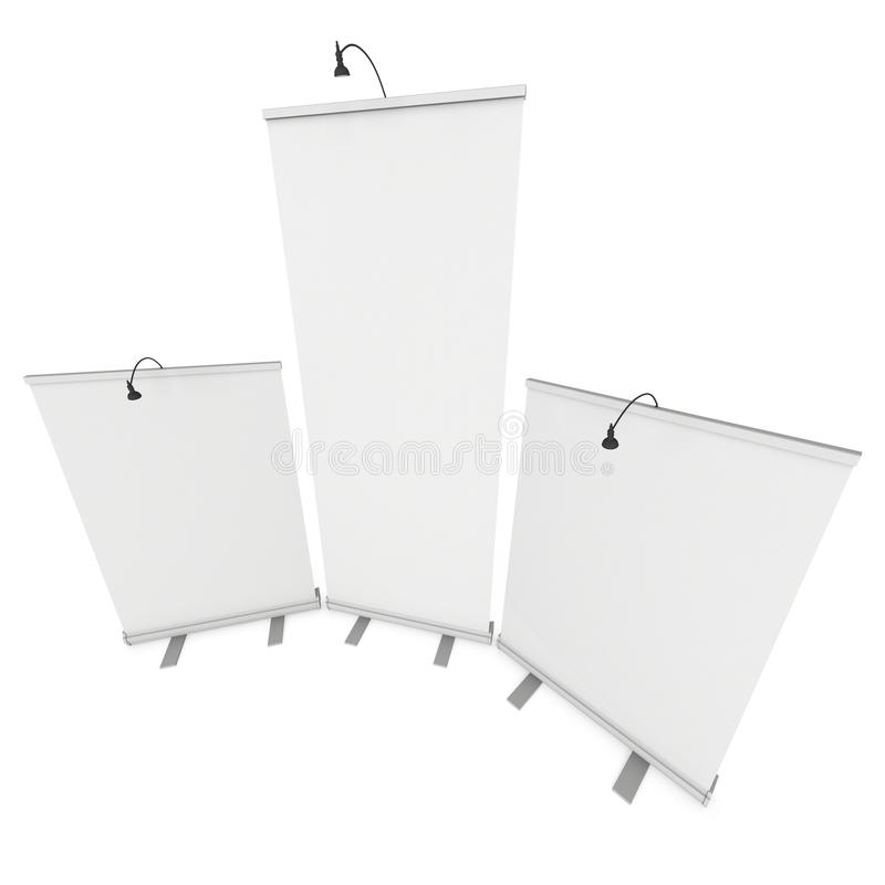 Blank Roll Up Expo Banner Stand Group. Trade show booth white and blank. 3d render illustration isolated on white background. Template mockup for your expo vector illustration
