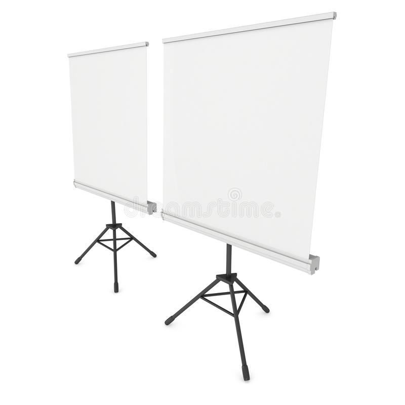 Blank Roll Up Expo Banner Stand on Tripod. Trade show booth white and blank. 3d render illustration isolated on white background. Template mockup for your expo stock illustration