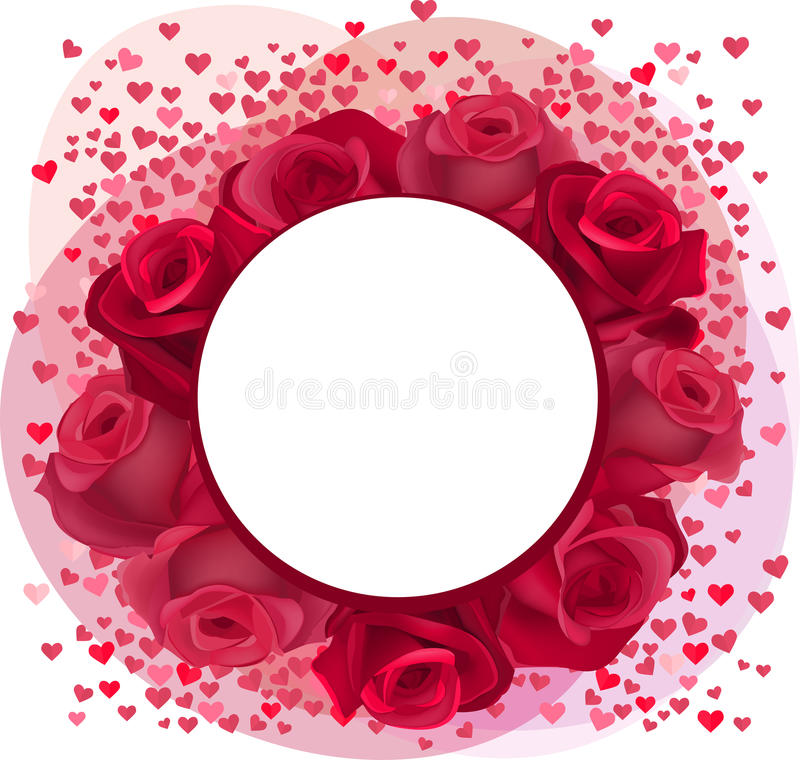 Blank romantic frame with roses and pink confetti stock illustration