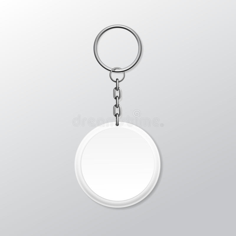 Blank Round Keychain with Ring and Chain for Key vector illustration