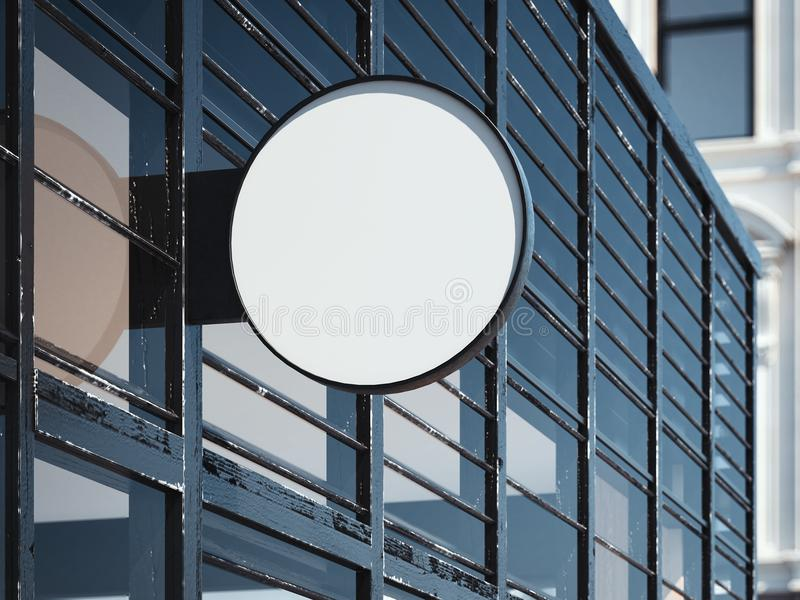 Blank round signboard on the modern wall. Store entrance. 3d rendering royalty free stock image