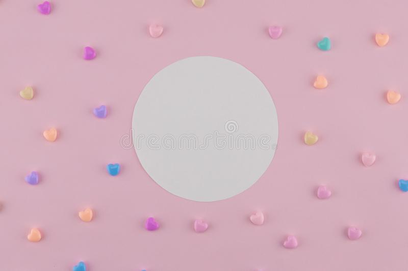 Blank round white card decorate with pastel heart royalty free stock image