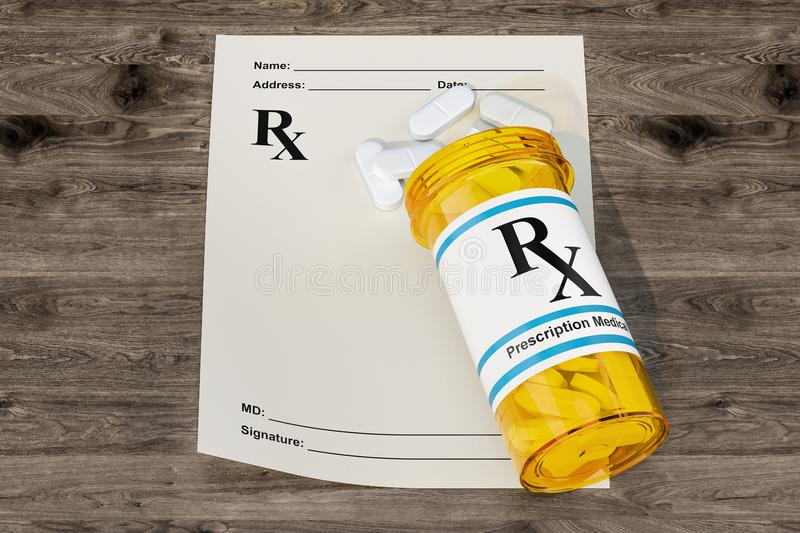 Blank RX prescription form with medical bottle drugs on the wood vector illustration