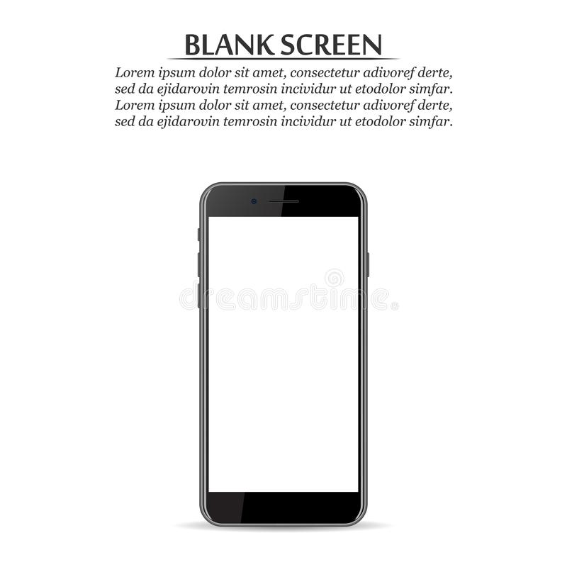 Blank screen. Black smartphone on a white background vector illustration
