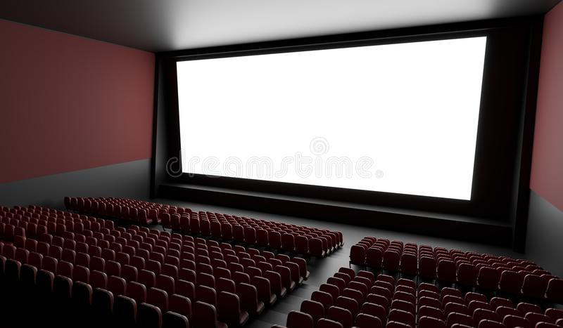 Blank screen in empty cinema hall. 3D rendered illustration.  royalty free illustration