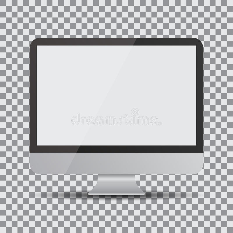 Blank screen. Realistic computer display on a transparent background royalty free illustration