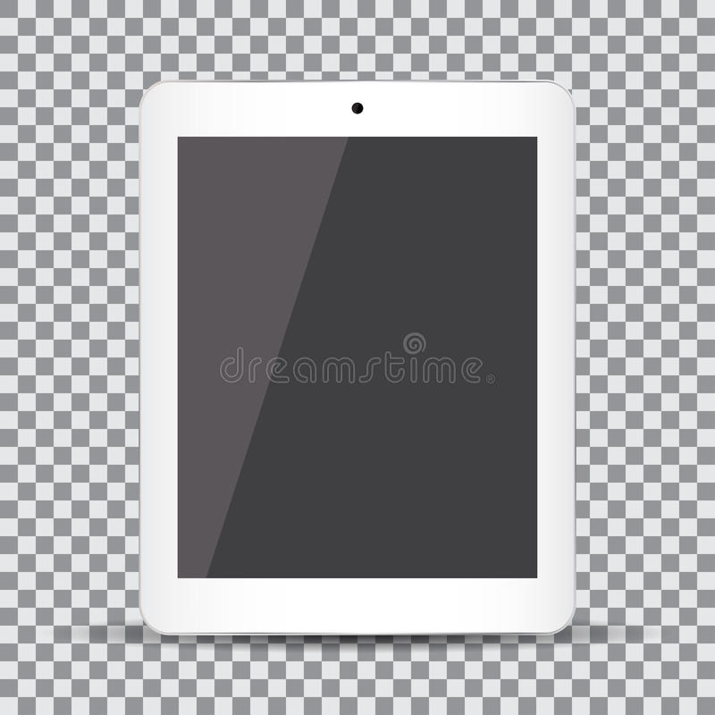 Blank screen. Realistic white tablet on a transparent background vector illustration