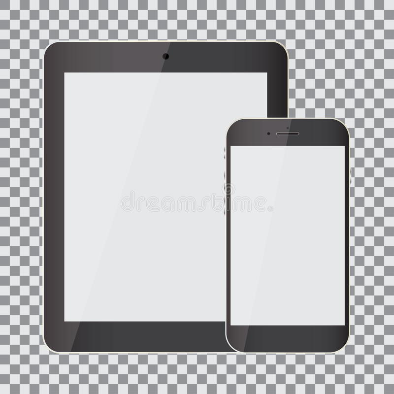 Blank screen. Set of realistic tablet and smartphone on a transparent background vector illustration