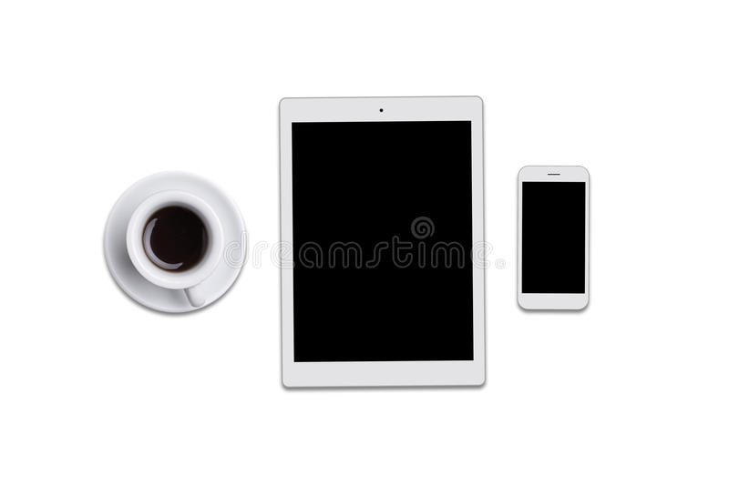 Blank screen tablet, smart phone and cup of coffee isolated over white background. Top view of modern gadgets lying on flat surfac stock image